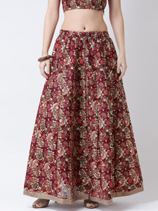 Castle Wine Printed Flared Skirt