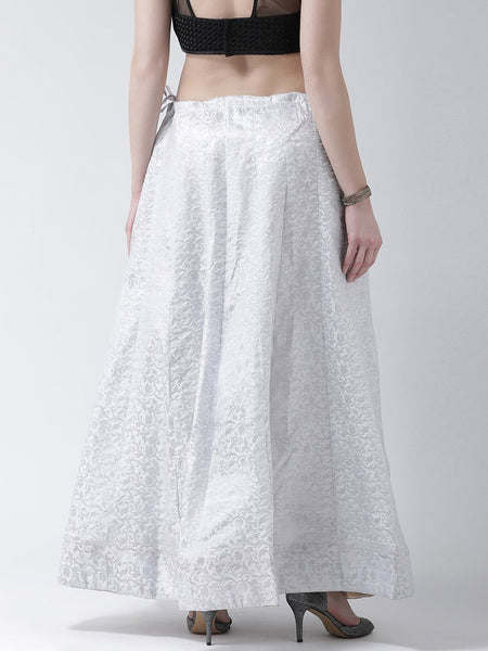 Castle White Flared Brocade Skirt