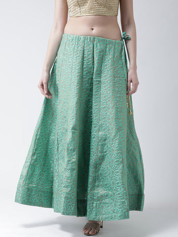 Castle Turquoise Flared Brocade Skirt