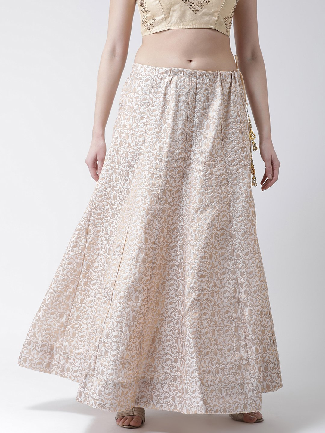 Castle Beige Flared Brocade Skirt