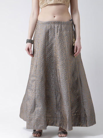 Castle Steel Grey Flared Brocade Skirt