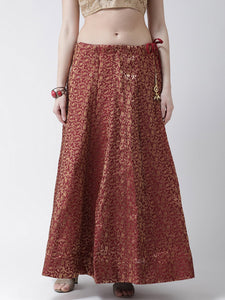 Castle Maroon Grey Flared Brocade Skirt