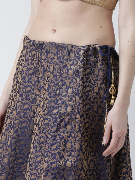 Castle Navy Blue Grey Flared Brocade Skirt