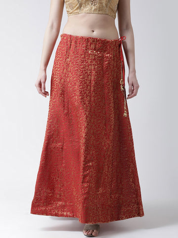 Castle Red Grey Flared Brocade Skirt