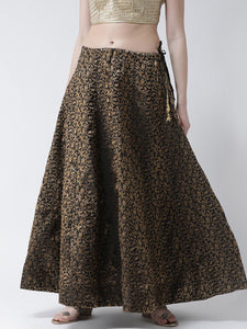 Castle Black Grey Flared Brocade Skirt