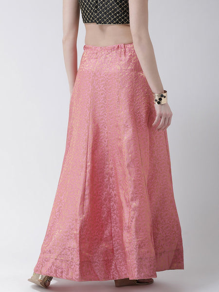 Castle Baby Pink Grey Flared Brocade Skirt