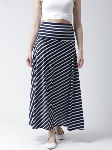 Castle Navy Blue Striped A-line Skirt