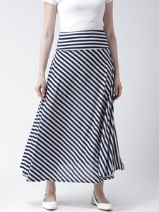 Castle Navy Blue & White Striped A-line Skirt