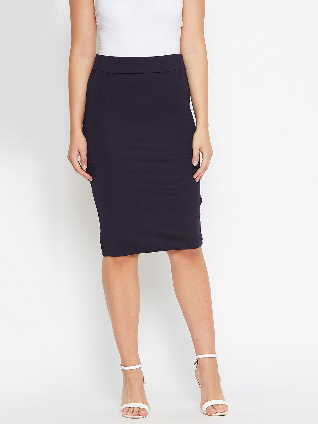 Castle Navy Blue Solid Knee Length Pencil Skirt
