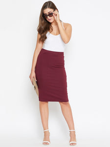 Castle Maroon Solid Knee Length Pencil Skirt