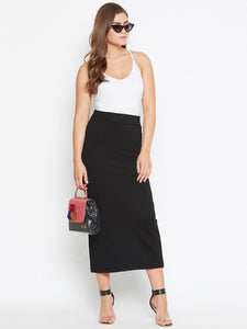 Castle Solid Black Long Strechable Pencil Skirt