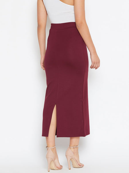 Castle Solid Maroon Long Strechable Pencil Skirt