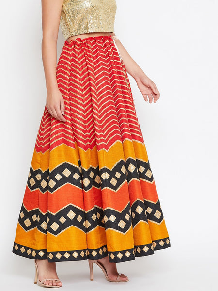 Castle Multi coloured Silk Flared maxi Skirt