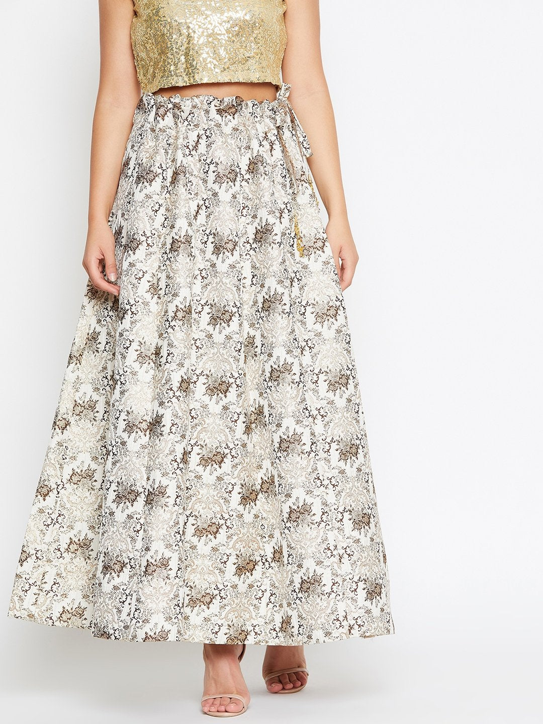 Castle White and Gold brocade Flared maxi Skirt