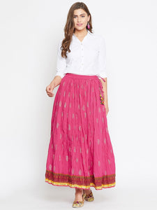 Castle Pink gold printed A-line Crinkled Skirt
