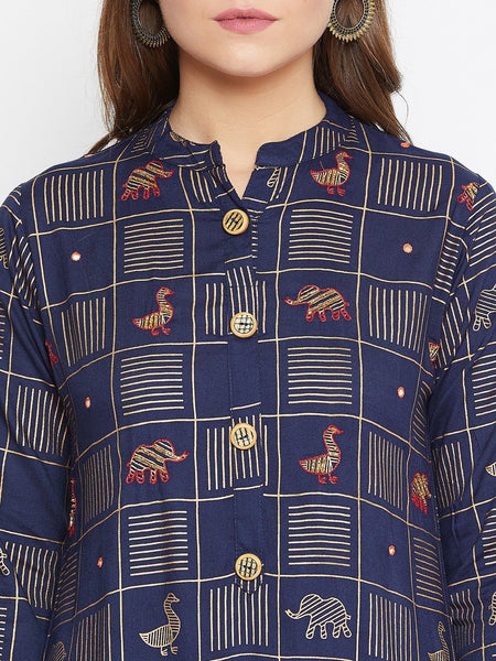 Castle Navy Blue Thread Work Kurta and Palazzo set