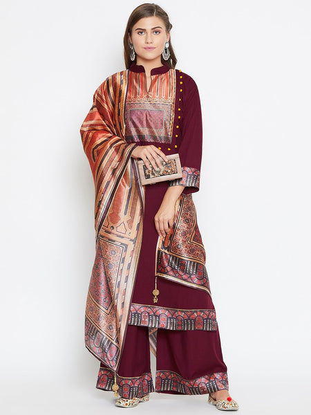 Castle Maroon Kurta Palazzos and Dupatta Set