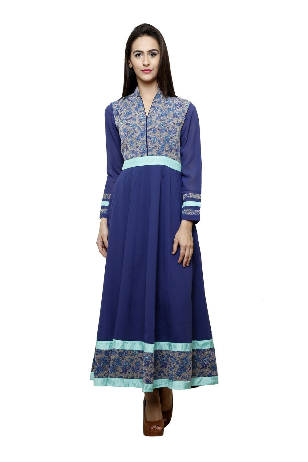 Castle Navy Blue Printed Georgette Anarkali kurti