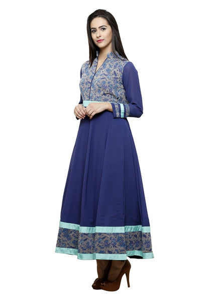 Castle Navy Blue Printed Georgette Anarkali kurti - Castle Lifestyle