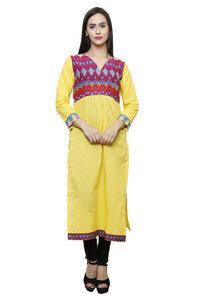 Castle Yellow Solid Cotton Kurta