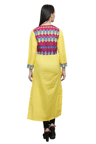 Castle Yellow Solid Cotton Kurta - Castle Lifestyle