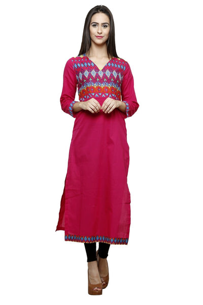 Castle Magenta Solid Cotton Kurta