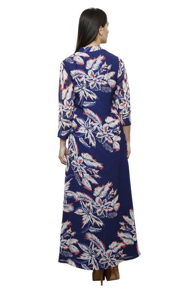 Castle Front Slit Navy Blue Printed Georgette Kurta With Jegging - Castle Lifestyle