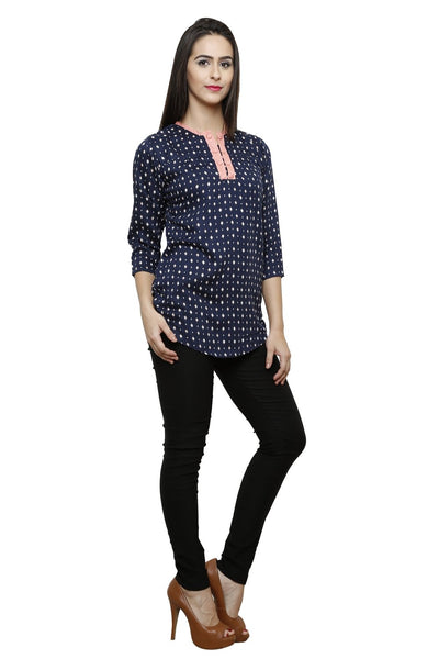 Castle Navy blue Printed Modal Top - Castle Lifestyle