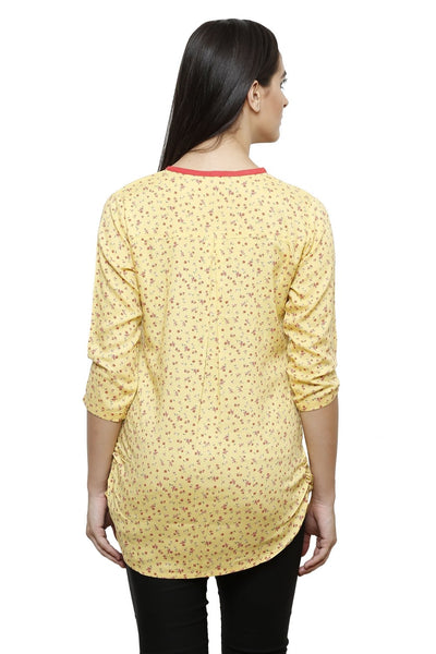 Castle Yellow Printed Modal Top - Castle Lifestyle