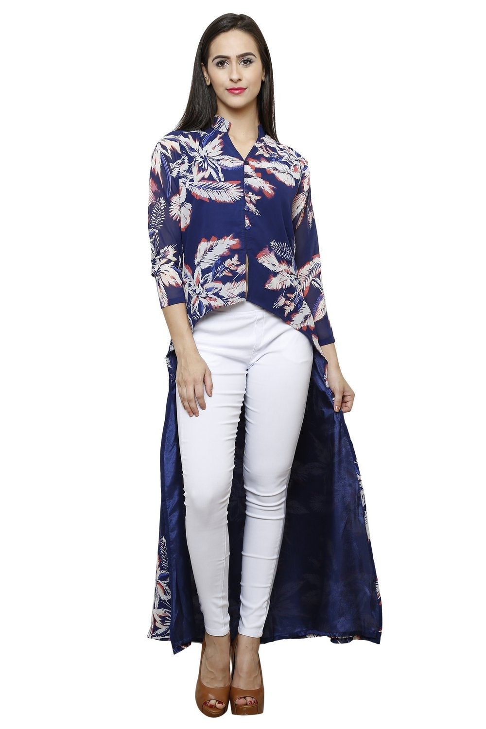 Castle Front Slit Navy blue Printed Georgette Kurta