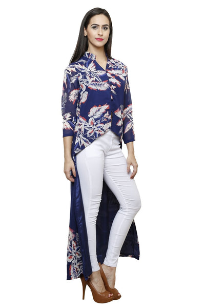 Castle Front Slit Navy blue Printed Georgette Kurta - Castle Lifestyle