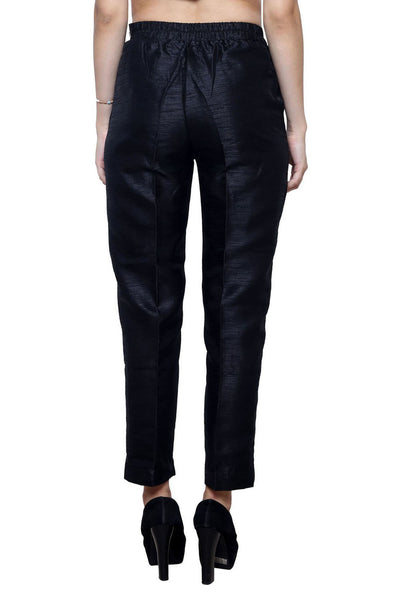Castle Black Tussar Silk Pencil Pant - Castle Lifestyle
