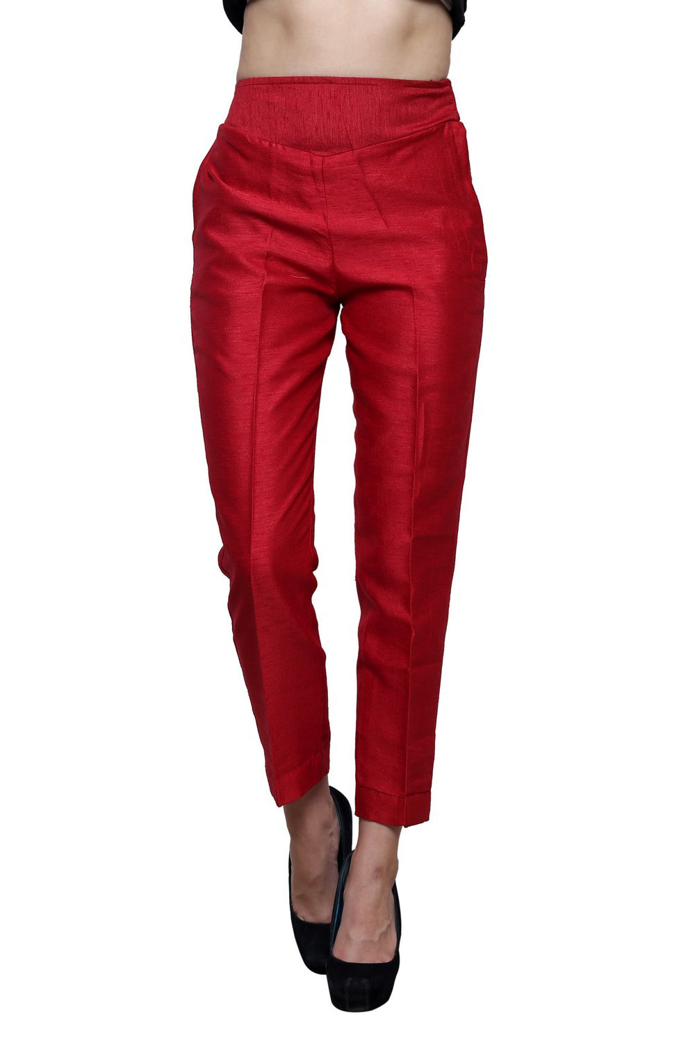 Castle Maroon Tussar Silk Pencil Pant - Castle Lifestyle