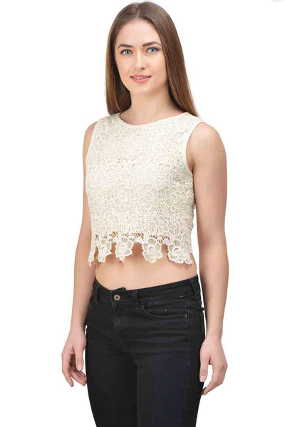 Castle Off-White Solid Net Crop Top - Castle Lifestyle