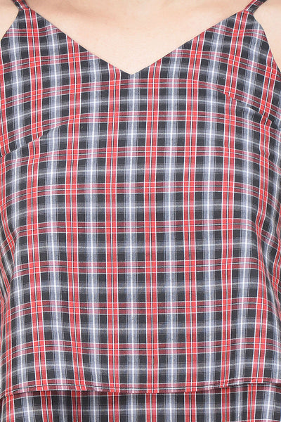 Castle Red & Black Check Crop Top - Castle Lifestyle