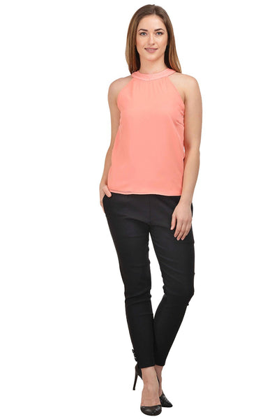 Castle Peach Solid Georgette Crop Top