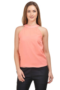 Castle Peach Solid Georgette Crop Top - Castle Lifestyle
