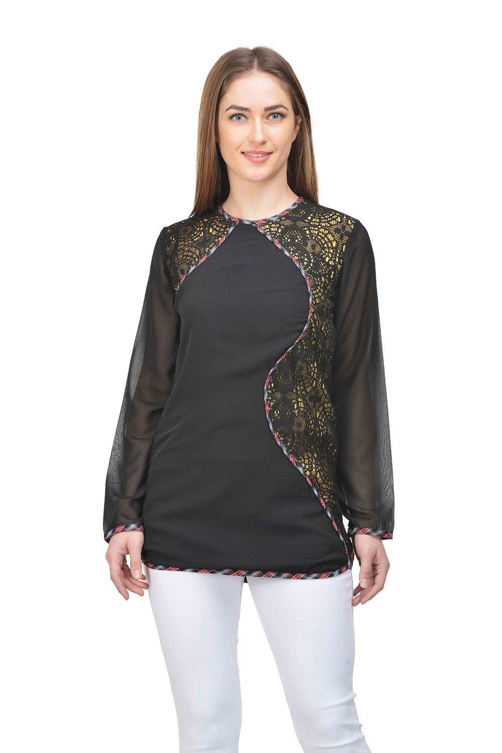 Castle Black Net Georgette Top - Castle Lifestyle