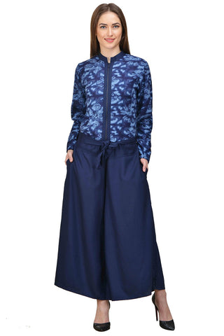 Castle Navy Blue Printed Rayon Jumpsuit