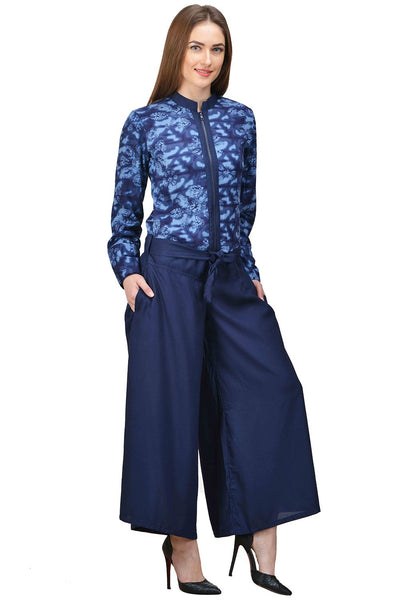 Castle Navy Blue Printed Rayon Jumpsuit - Castle Lifestyle