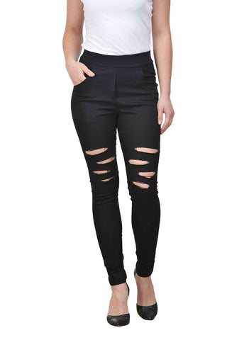 Castle Black Solid Cotton Lycra Ripped Jeggings