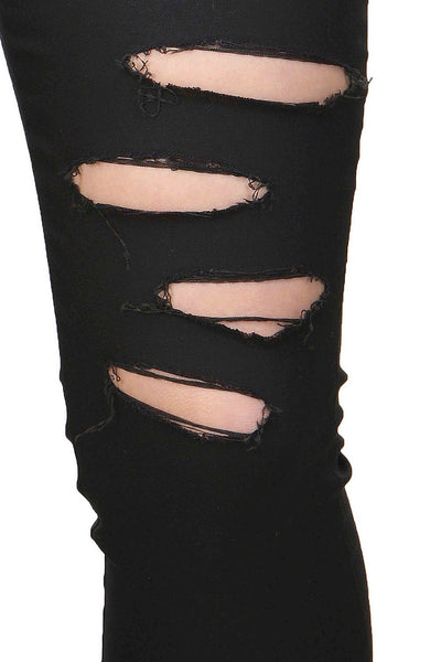 Castle Black Solid Cotton Spandex Ripped Jeggings - Castle Lifestyle