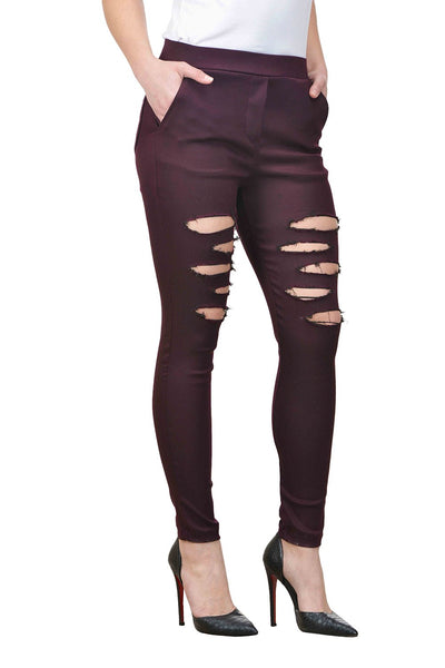 Castle Wine Solid Cotton Spandex Ripped Jeggings - Castle Lifestyle