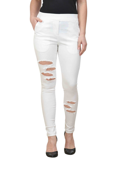 Castle White Solid Cotton Lycra Ripped Jeggings