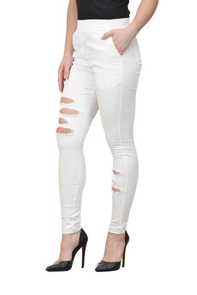 Castle White Solid Cotton Spandex Ripped Jeggings - Castle Lifestyle