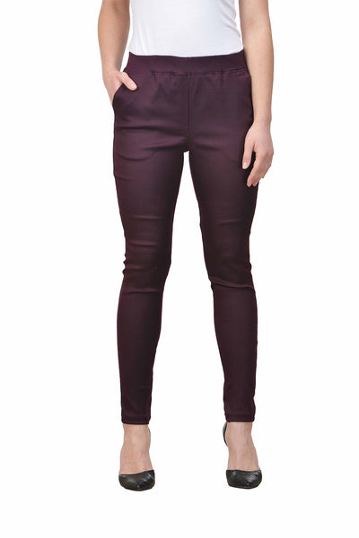 Castle Wine Solid Cotton Lycra Ripped Jeggings