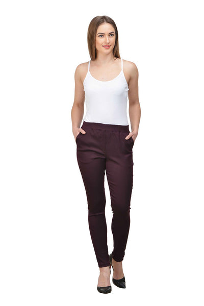 Castle Wine Solid Cotton Spandex Jeggings - Castle Lifestyle