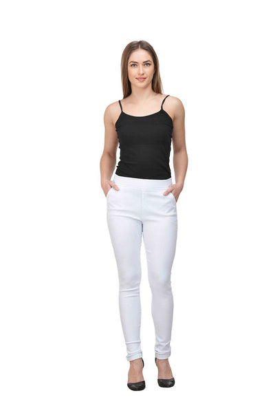 Castle White Solid Cotton Spandex Jeggings - Castle Lifestyle