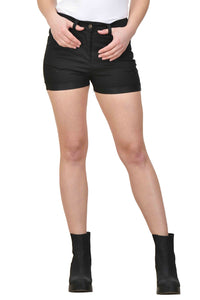 Castle Black Solid Cotton Lycra Shorts