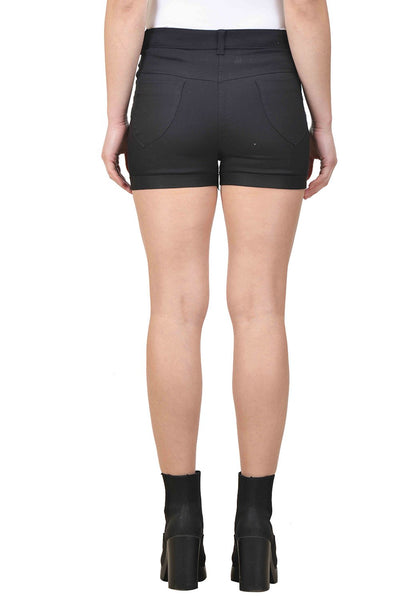 Castle Black Solid Cotton Spandex Shorts - Castle Lifestyle